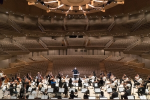 Rehearsal time in a soon-to-be-filled Roy Thomson Hall. This grand venue accommodates up to 2,630 guests.