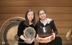 These instruments may be small, but the sound they produce is amazingly resonant. Percussionists Tiffany Yu and Jazmine Jia.