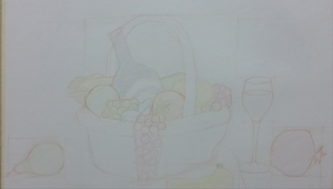 8/30/16: I begin this colored pencil work. The composition has been set but... 9/13/16: …it seems to lack life. Hence, a cute duck plushy was added on top of the pomegranate. 10/3/16: Figuring out how colored pencils work. In black, there is blue, green, red, purple, etc. 10/17/16: The wine bottle that looks black is not black at all. 10/24/16: As you can see, I tried to postpone drawing the complicated basket for as long as I could. At this stage, it's important to focus on the overall progress, and not scrutinize the specifics. 10/25/16: I should stop neglecting the champagne glass. 11/1/16: The scene doesn't have enough depth. So I add two clementines and a clump of grapes in the back. Thinking about the hours of work these small fruits will entail makes me want to cry a bit. 11/7/16: The cloth backdrop requires a lot of penciling. 11/26/16: My final endeavor before last season's Shen Yun tour. At this point, I think I'm finished and I sign my work. But little did I know… 6/23/17: Hey, look who's back! After an eight-month hiatus of tour and break, I return to you, my dear basket of fruits and things. And I see the parts that still need fixing: pears, egg, duck, glass, basket, grapes, and wine bottle. Or basically, everything. 7/2/17: The grapes at the right side of the basket are too clumped together… 7/23/17: …so I cascade them down towards the ground. But the environment was too warm (yellowish), so everything was readjusted. And then the egg appeared too bright and too large. 8/27/17: Almost exactly a year after I began, this picture is completed. Obviously, there are many technical imperfections that can be improved upon, and I have a long way to go before becoming a world-class artist, but this journey was fulfilling. Until next time!