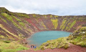 Kerið, sebuah danau kawah di selatan Islandia.