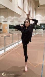 Back in Toronto, dancer Ellie Rao stretches in the practice room. She makes balancing this pose look easy, but we're certain it's not. (Photo by Percussionist Tiffany Yu)