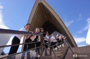 Meanwhile, the International Company visited Sydney, Australia. Here, dancers are pictured ascending the stairs of the Sydney Opera House. (Photo by projectionist Annie Li)