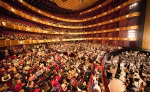 Pictured here is the wide orchestra level seating with four ring-like balconies and a small fifth ring.