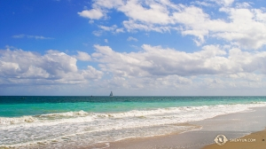 神韻世界藝術團在佛羅里達勞德代爾堡的演出間隙,到海邊一遊。(攝影:鈴木銳)