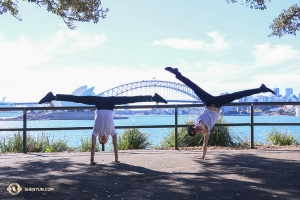 Sul lato opposto del porto di Sydney, i ballerini si mettono in posa (foto del ballerino Nick Zhao)