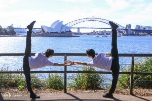 On the opposite side of Sydney Harbour, dancers strike a pose. (Photo by dancer Nick Zhao)