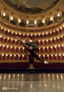 Meanwhile, Principal Dancer Angelia Wang leaps across the stage at the Teatro dell'Opera in Rome, kicking off the Italian leg of the tour in more ways than one. (Photo by percussionist Tiffany Yu)