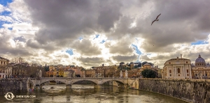The over 100-year-old Ponte Vittorio Emanuele II bridge outside Vatican City. (Photo by dancer Felix Sun)