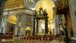 The beautifully detailed interior of Saint Peter's Basilica—the palace-like church inside Vatican City. (Photo by percussionist Tiffany Yu)