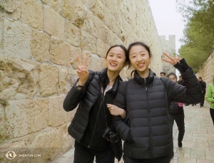 Principal dancers Angelia Wang (left) and Melody Qin in the Old City part of Jerusalem. (Photo by Tiffany Yu)