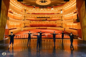 Meanwhile, Shen Yun World Company dancers in San Luis Obispo, California rehearse together to familiarize themselves with the stage of the Performing Arts Center. (Photo by dancer Jeff Chuang)