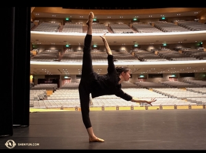 Then all the way in Japan, dancer Hannah Rao quietly warms up on the stage of the Nagoya Congress Hall. The Japanese leg of the tour just concluded, but we look forward to performing in the Land of the Rising Sun next year! (Photo by projectionist Annie Li)