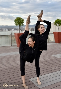 Dancer Cici Wang and Principal Dancer Miranda Zhou-Galati pose in Puebla, Mexico. How can they hold these poses while giggling?! (Photo by Yuxuan Liu)