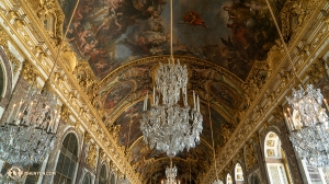 Delicate chandeliers and ornate detailing decorate Versailles's famous Hall of Mirrors. (Photo by percussionist Tiffany Yu)