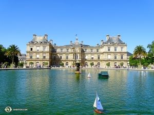 Then off to another palace, one that has been used for everything, from a residence for royalty, to a prison, to a museum—before becoming a legislative building. Pictured here is the south facade of the Palais du Luxembourg, with miniature sailboats floating in its garden basin. (Photo by Tony Zhao)