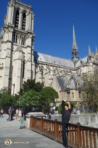 Dancer Henry Hong poses outside of Notre-Dame. (Photo by Jack Han)
