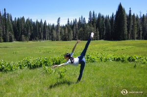 Dancer Hazel Yu takes advantage of Yosemite National Park's many wide open spaces to stretch.