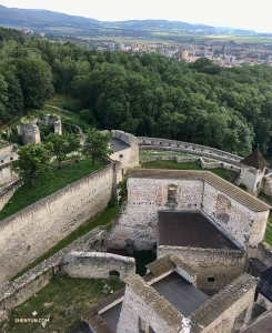 Looking down at the ruins of Trenčín Castle's fortifications from Matúš Tower. The castle, which dates back to Roman times, houses a museum of the region's history and is a National Culture Monument of Slovakia.