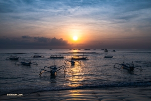 Jukung fishing boats, also known as traditional Balinese dragonfly boats, set off early in the morning in Sanur, a quiet, laid-back seaside town in southeastern Bali.