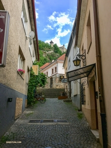 Taking a stroll down a charming cobblestone street in the city of Trenčín in western Slovakia. (Photo by dancer Betty Wang)