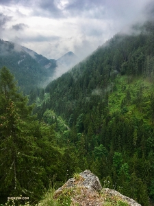At the edge of a cliff in Demänovská Valley, part of the Low Tatras mountain range of the Inner Western Carpathians. All who hike here are rewarded with spectacular scenery.