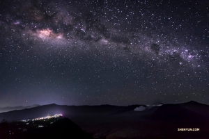 The Milky Way above Mt. Bromo in East Java, Indonesia, glittering with pinpricks of light.