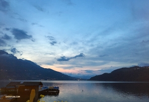 Lago di Caldonazzo, the largest lake entirely in the Trentino-Alto Adige region of Italy, is particularly enchanting at twilight.