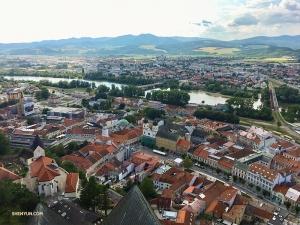 Een uitzicht op het idyllische Trenčín.