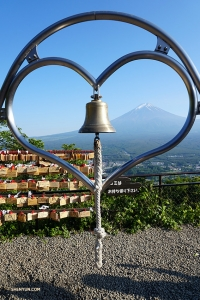 Another view of Mt. Fuji, at the top of Tenjo Mountain. A local myth holds that if you make a wish while ringing this bell and looking through the heart at Mt. Fuji, your wish will come true.