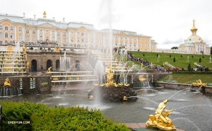 The gardens of Peterhof Palace in St. Petersburg, Russia contain over 200 statues and 144 fountains on 500 acres of land. The Grand Cascade of fountains leading up the palace steps includes 64 fountains alone.