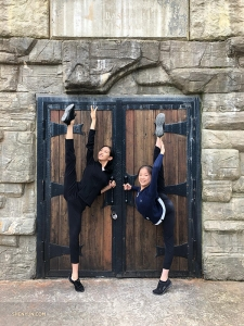 Luna Yu and Nara Cho didn't travel very far—here they are at the Bashakill Vineyards, New York, enjoying the warm weather. (Photo by dancer Cindy Liu)