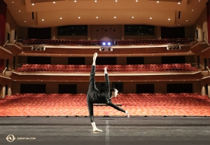 In the chilly north, dancer Hannah Jao of Shen Yun Touring Company practices on the stage of Living Arts Centre in Mississauga, Canada. (Photo by Principal Dancer Kaidi Wu)