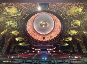 Now jumping to the Wang Theatre in Boston, MA, Principal Dancer Angelia Wang captures a shot of the majestic ceiling murals before a performance.