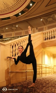 Nearby at the Hanover Theatre in Worcester, MA, dancer Bella Fan finds a great barre for warming up. (Photo by principal dancer Kaidi Wu)