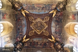 An intricate hand-painted ceiling mural in the Grand Gallery of the Louvre. (Photo by dancer Andrew Fung)