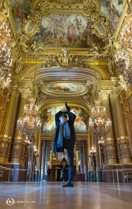 While touring the Palais Garnier, Principal Dancer Monty Mou poses in the Grand Foyer. (Photo by Andrew Fung)