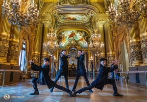 Posing as imperial palace guards, these dancers are always ready to protect. In this case, they're protecting Paris' Palais Garnier. (Photo by Andrew Fung)