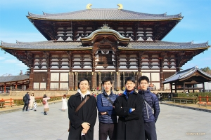 Dancers (from left) Steve Feng, Rui Suzuki, Leo Lee, and Jack Han at the end of their Todai-ji trip.