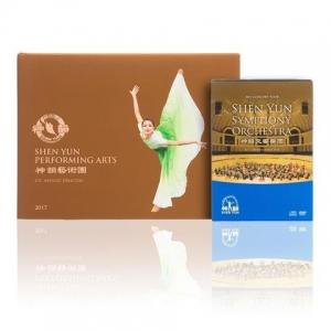 神韻畫冊與神韻交響樂團CD和DVD套裝。
