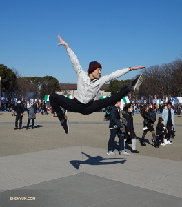 Japanese native Rubi Zhang jumps at the opportunity to show his fellow performers Tokyo's Ueno Park.