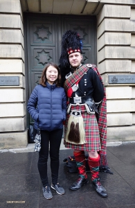Percussionist Tiffany Yu poses with a friendly local sporting a kilt.