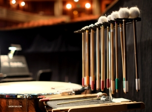 The percussion section is all set up. (Photo by Karen Chen)
