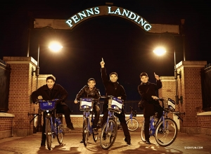 From left: dancers Eric Lam, Xinghao Che, Sam Pu and William Li go on a bike adventure along the Delaware River.