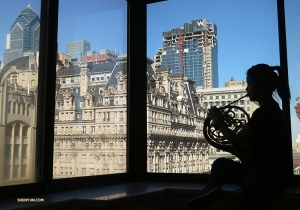 French horn player Chi-Chien Weng rehearsing before one of 25 performances in Philly. Check back later to see where we go in our next photo album! (Photo by Yu Lian)<p> </p>