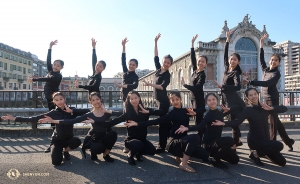 Shen Yun International Company dancers pose in front of the Batiment des Forces Motrices theater in Geneva, Switzerland. (Photo by dancer Kexin Li)