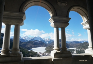 A stunning view of the Bavarian Alps from the castle terrace.
