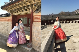 Musicians look like ladies of the palace in their beautifully detailed Hanbok.