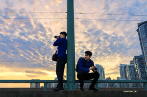 Dancers Daniel Jiang and William Li explore Vancouver for photo ops between performances. (Photo by dancer Sam Pu)