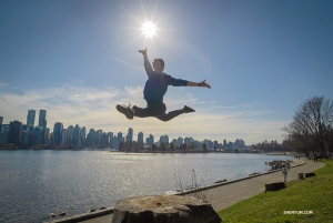 Stage manager Tim Wu leaps in the air at Stanley Park. Yes, previously he was a dancer (not all stage managers can jump like this!). (Photo by Daniel Jiang)
