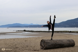 Hopefully the log doesn't roll away from Principal Dancer Kaidi Wu! (Photo by dancer Sophie Xie)